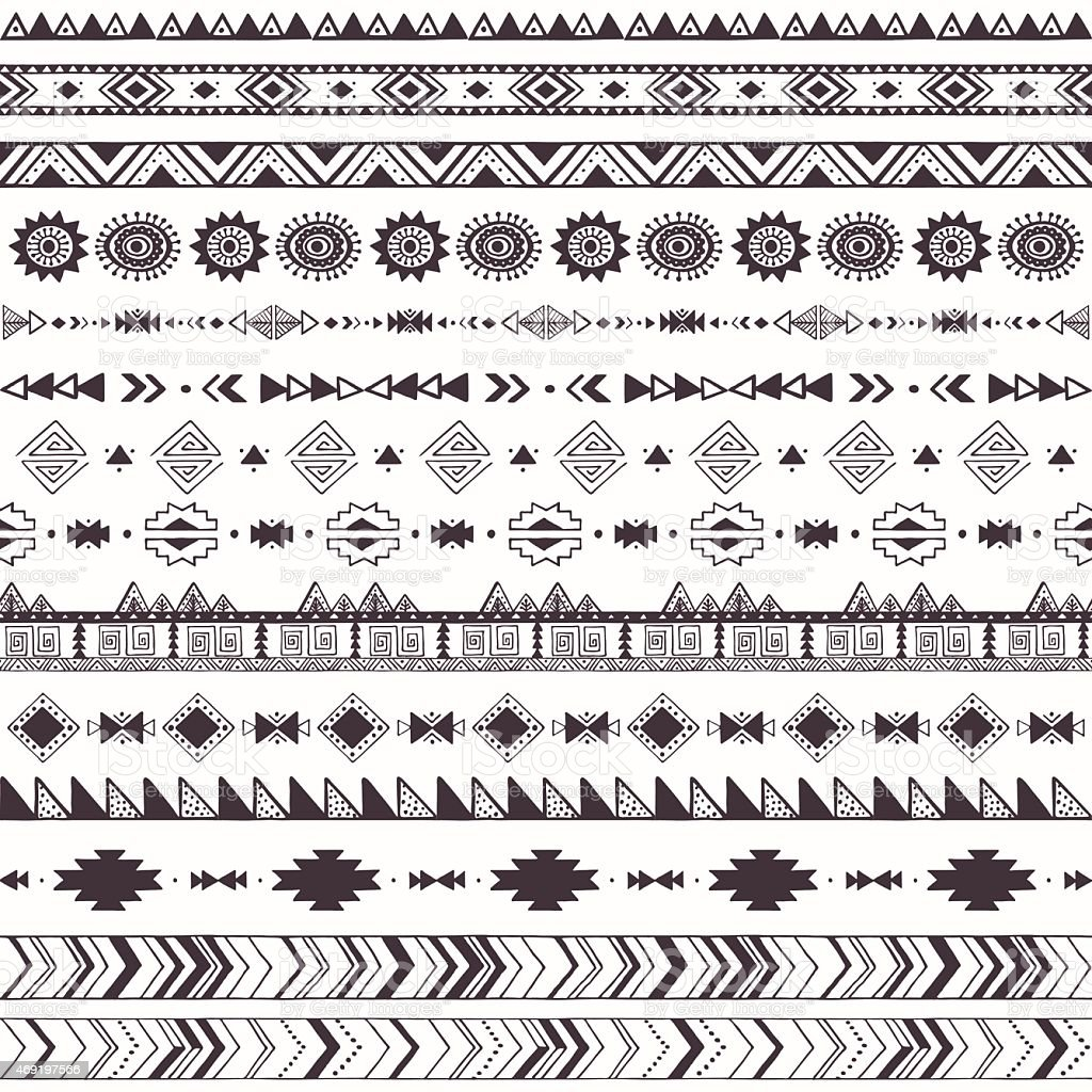 Tribal motifs pattern vector art illustration