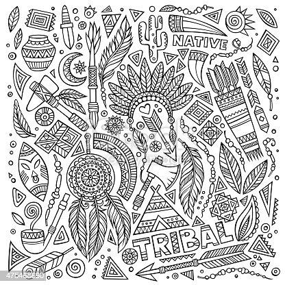 Tribal Native American Set Of Symbols Stockvectorbeelden 475468690