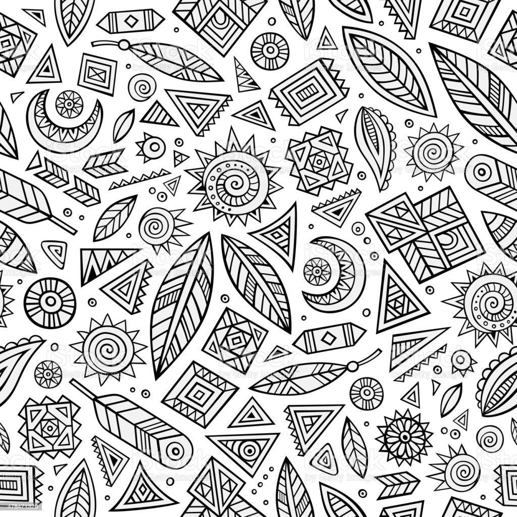 Tribal native ethnic seamless pattern vector art illustration