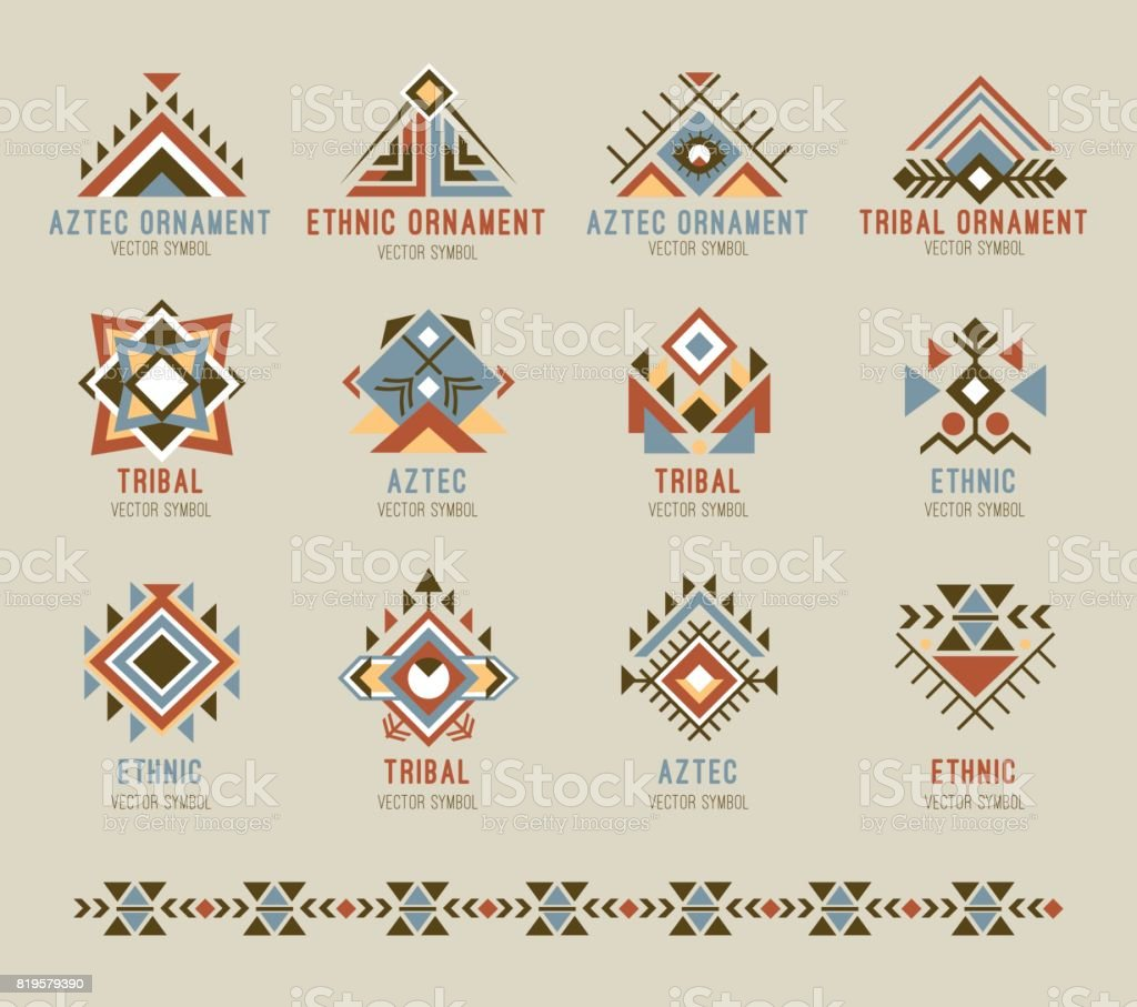 Tribal native pattern set vector art illustration