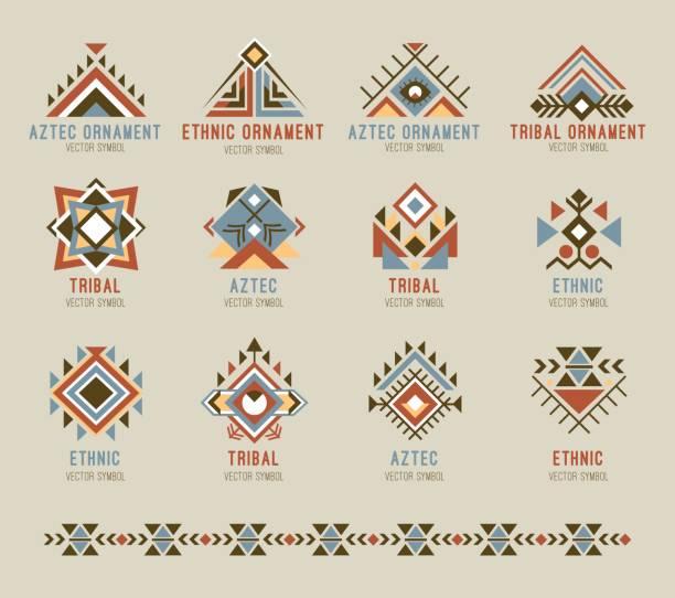 Tribal native pattern set vector art illustration