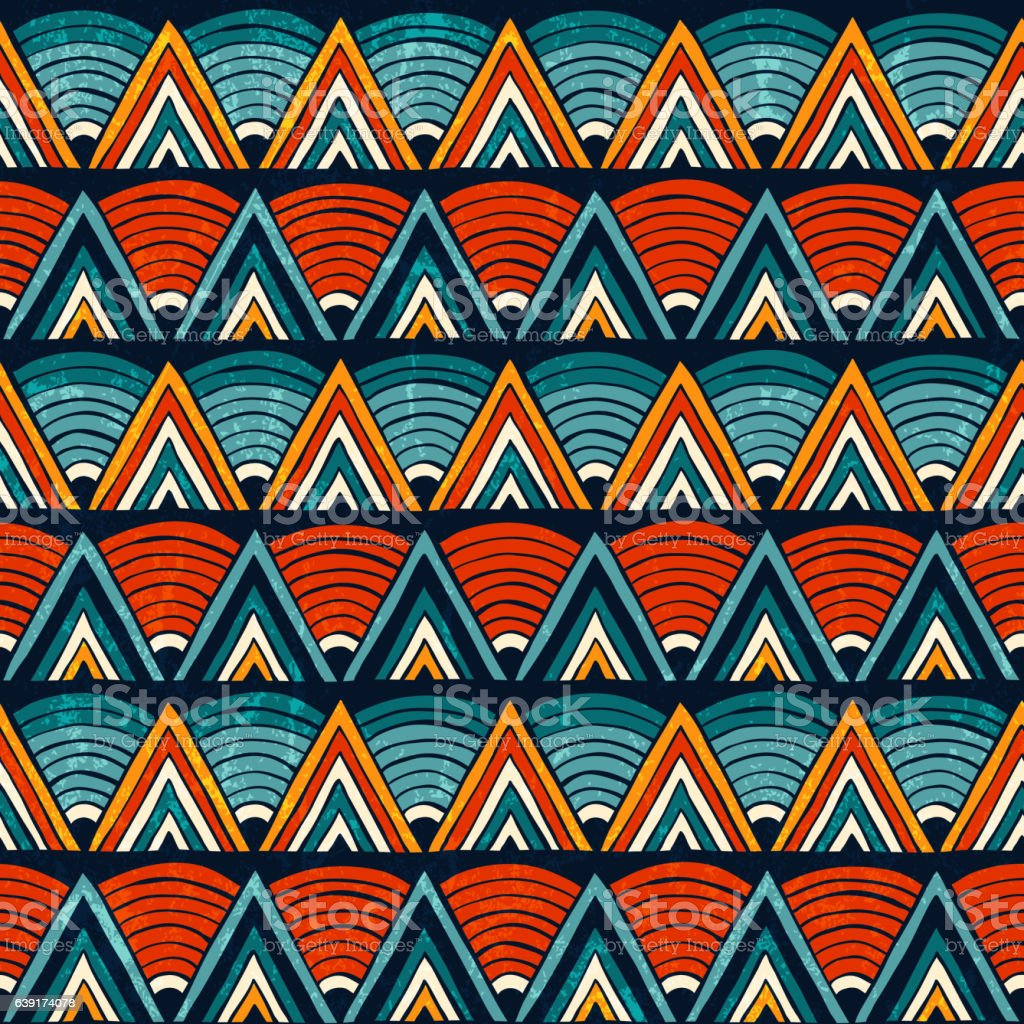 Tribal ornament in vibrant colours. Seamless abstract vector background. - ilustração de arte em vetor