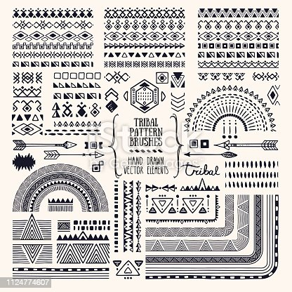 Hand drawn ethnic brushes, patterns, textures. Artistic vector collection of design elements, tribal geometric ornament, aztec style, native americans' fabric. Pattern brushes are included in EPS. Isolated on white background.