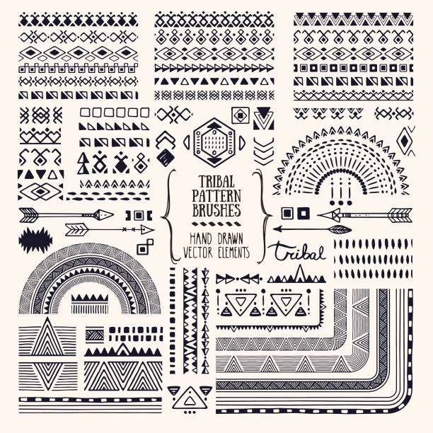 Tribal ornaments, ethnic pattern brushes, folkart illustrations clipart collection. Hand drawn elements for flyer, poster, banner, invitation design templates. Hand drawn ethnic brushes, patterns, textures. Artistic vector collection of design elements, tribal geometric ornament, aztec style, native americans' fabric. Pattern brushes are included in EPS. Isolated on white background. indigenous culture stock illustrations