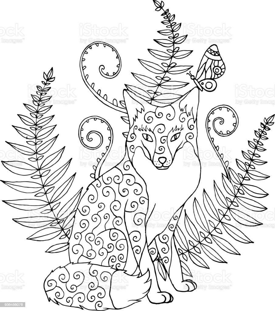 部族 ornated 狐森シダ大人のための塗り絵作品 fotベクトルの図