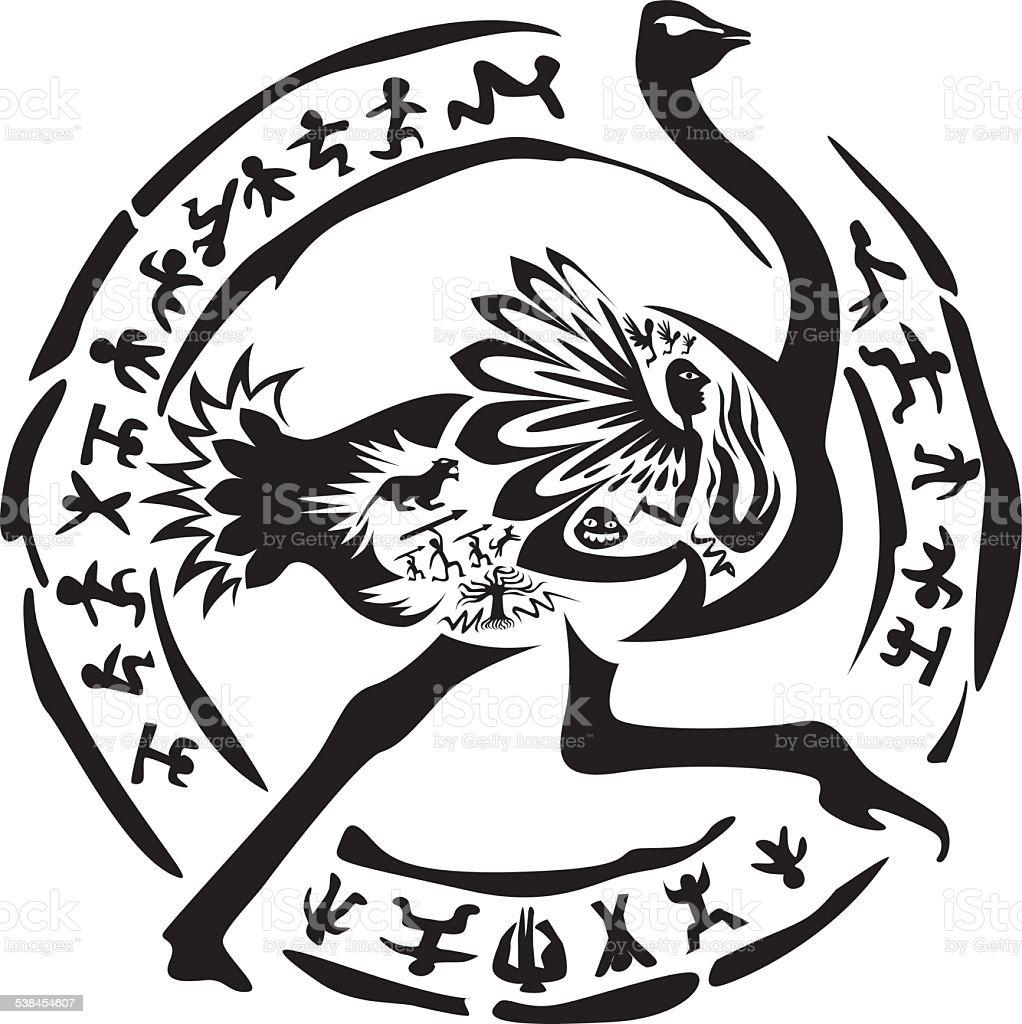 Tribal ostrich tattoo vector art illustration