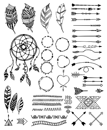 Tribal pack icon set, vector sketch illustration