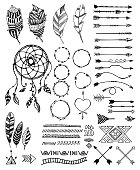 Tribal pack icon set, vector sketch illustration