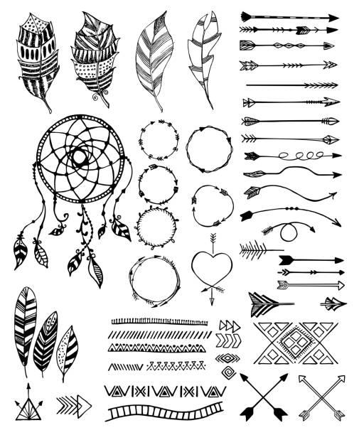 stockillustraties, clipart, cartoons en iconen met tribal pack pictogrammenset, vectorillustratie schets - boho
