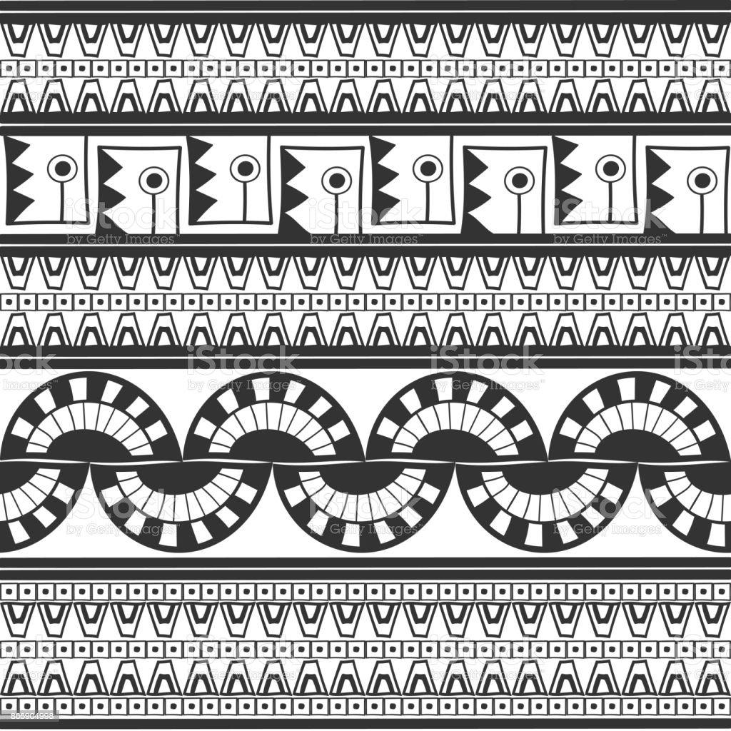Tribal pattern monochrome seamless vector vector art illustration