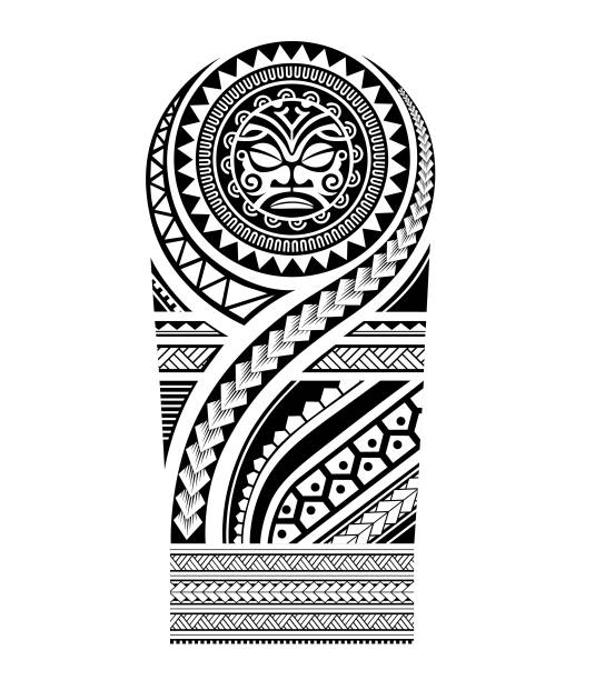 tribal pattern polynesian tattoo styles, group elements ornaments for tattoo sleeve, maori pattern for shoulder men, vector isolated template - tribal tattoos stock illustrations, clip art, cartoons, & icons