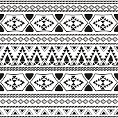 Tribal pattern seamless vector. Ethnic monochrome print design