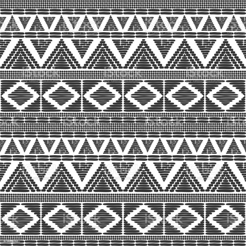 Tribal pattern vector in black white colors print with african tribe border motifs ethnic