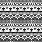 Tribal pattern vector in black white colors. Print with african tribe border motifs. Ethnic texture. Background for fabric, wallpaper, wrapping paper and card template.