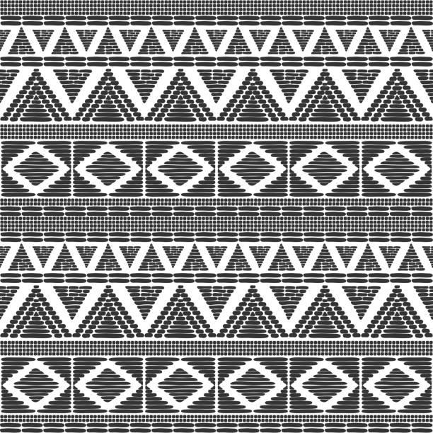 bildbanksillustrationer, clip art samt tecknat material och ikoner med tribal mönster vektor i svart vitt. skriva ut med afrikansk stam gränsen motiv. etniska konsistens. bakgrund för tyg, tapeter, inslagning mall papper och kort. - south africa