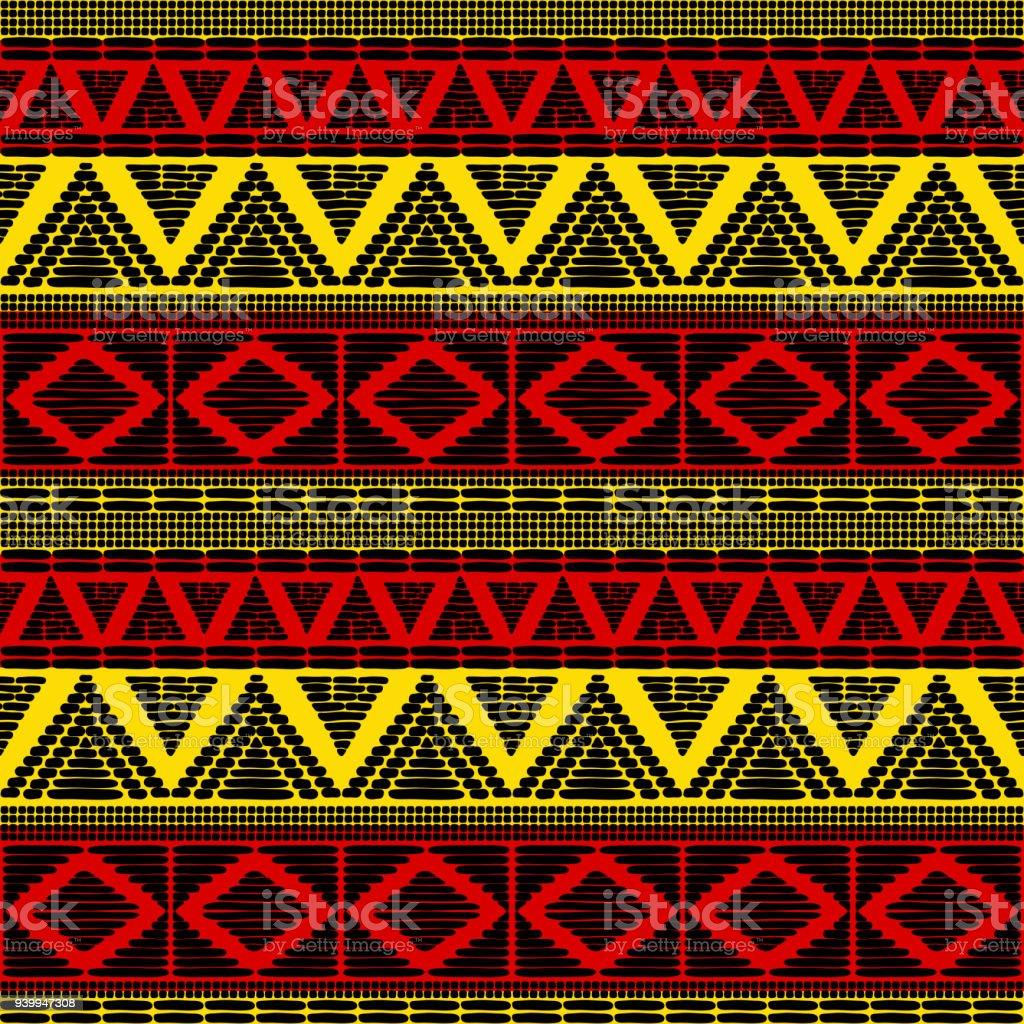 Tribal Muster Vektor Nahtlos Afrikanischen Hintergrund Mit In Uganda ...