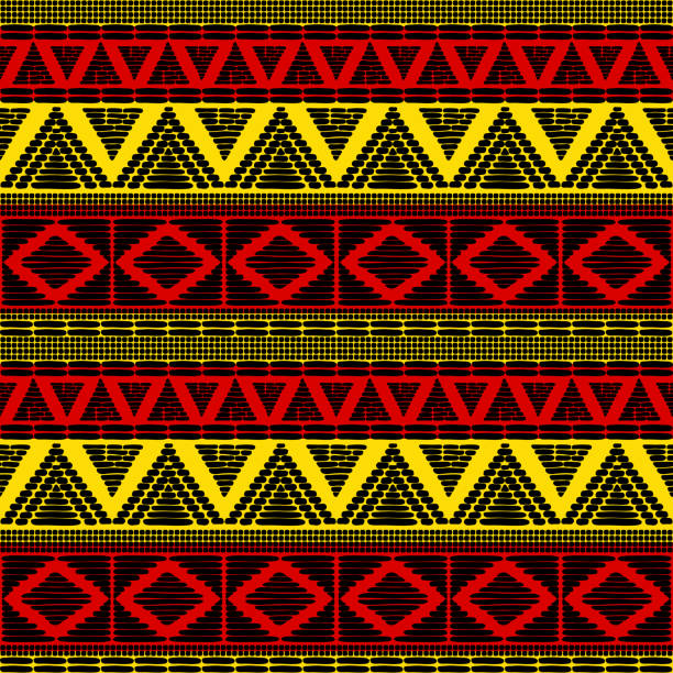 Tribal pattern vector seamless. African background with in Uganda flags colors. Ethic texture. Design for fabric, wallpaper, wrapping paper and card template. vector art illustration