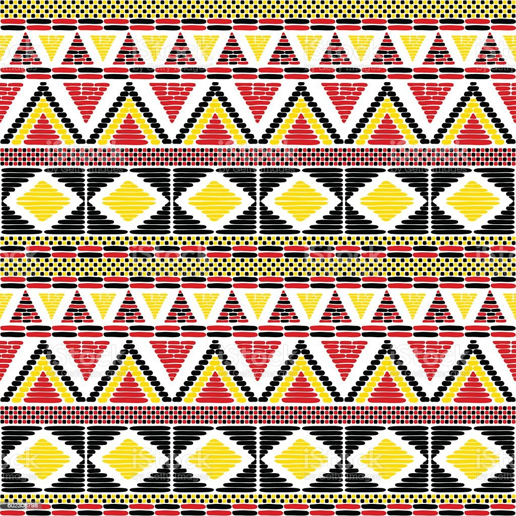 Tribal pattern vector seamless. African print in Uganda flags colors. vector art illustration