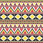 Tribal pattern vector seamless. African print in Uganda flags colors.