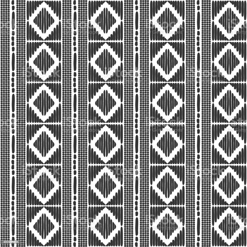 Tribal Pattern Vector Seamless Border African Or Native American Print Black White Ethics Texture