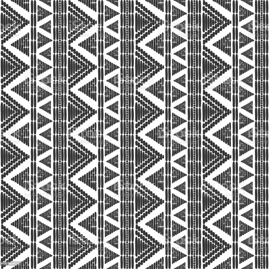 Tribal Pattern Vector Seamless Border Ethnics African Or Native American Black White Background Print