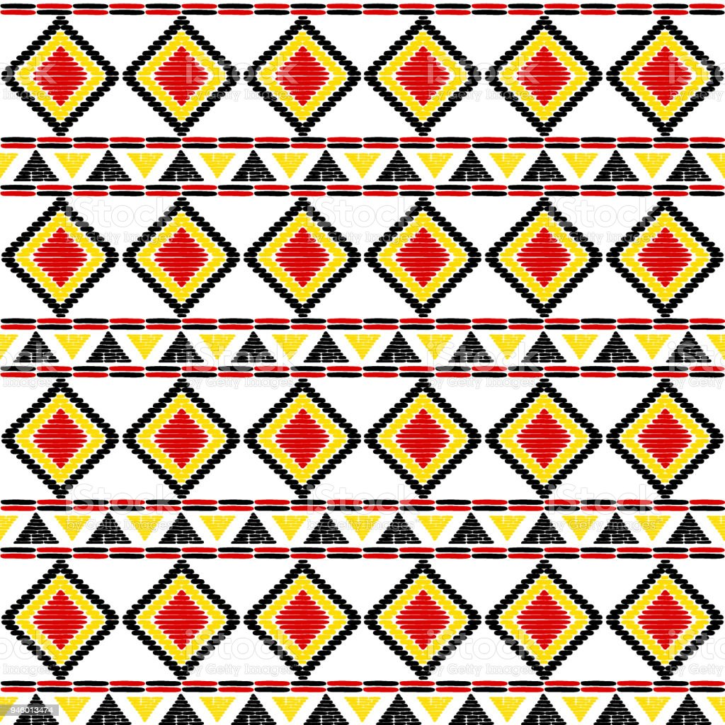 Tribal Pattern Vector Seamless Uganda African Print Background For Africa Ethnic Fabric Wallpaper