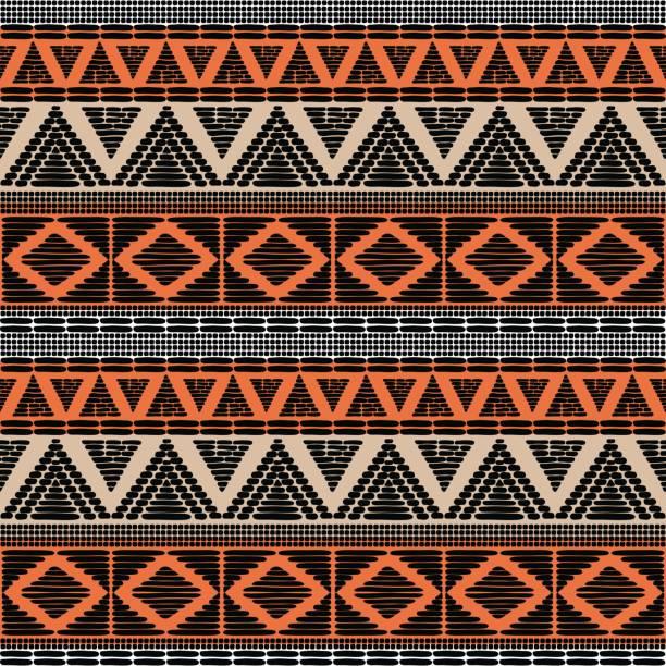 stockillustraties, clipart, cartoons en iconen met tribal patroon vector naadloze - tribale kunst