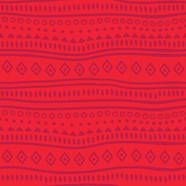 ilustraciones, imágenes clip art, dibujos animados e iconos de stock de tribal vector patrón rojo - méxico