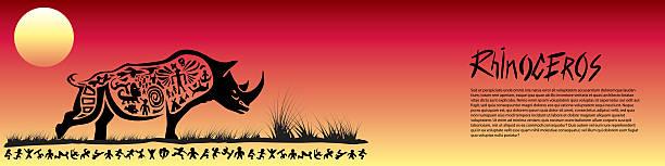 Tribal rhinoceros banner vector art illustration