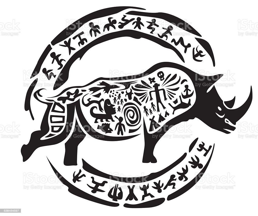 Tribal rhinoceros tattoo vector art illustration