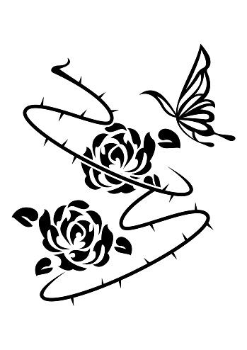 Tribal Rose. Illustration of Rose. Ethnic artwork. Rose flower tattoo.