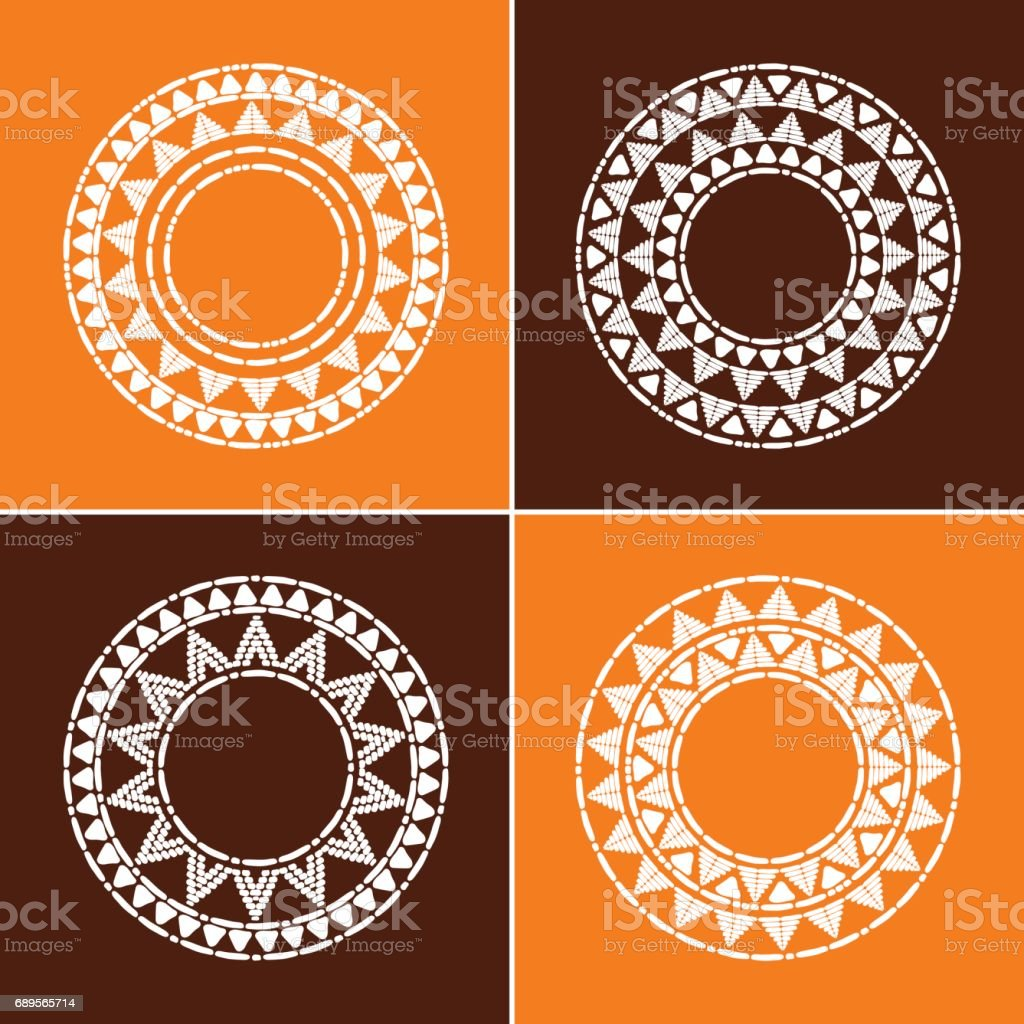 Tribal round frames collection vector vector art illustration