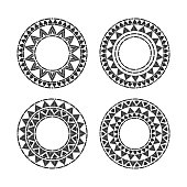 Tribal round frames set vector. African, mexican, Peruvian or Aztec decorative elements. Black contour unique design for tribes logos, badge, labels or boho tattoo.