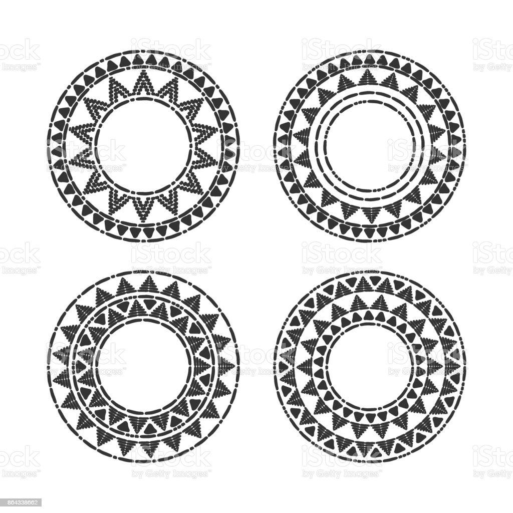 Tribais molduras redondas conjunto vector - ilustração de arte em vetor
