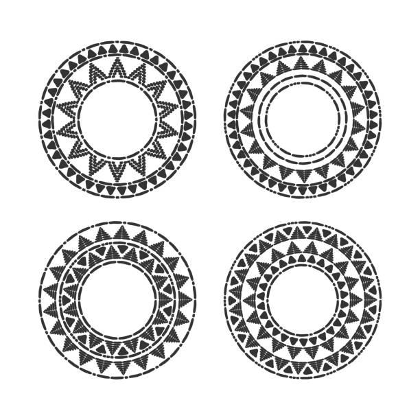 stockillustraties, clipart, cartoons en iconen met tribal ronde frames instellen vector - tribale kunst