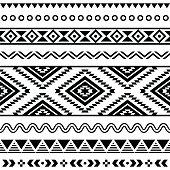 Vector folk seamless Aztec ornament, ethnic pattern