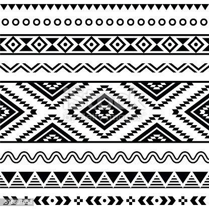 istock Tribal seamless Aztec white pattern on black background 516687538
