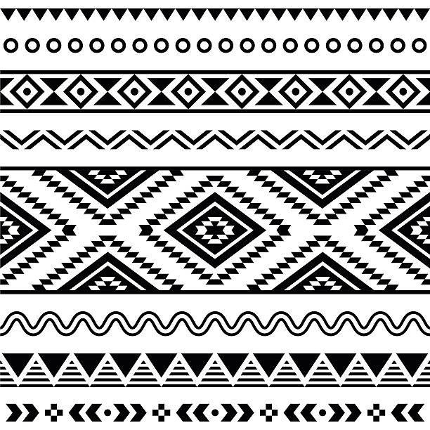 Tribal seamless Aztec white pattern on black background Vector folk seamless Aztec ornament, ethnic pattern  indigenous culture stock illustrations