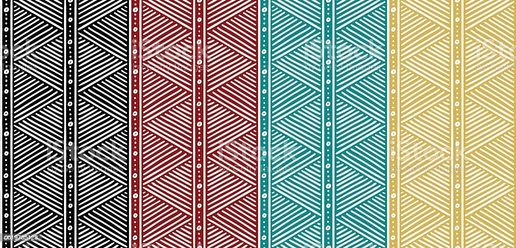 Tribal Seamless Ethnic African Pattern with Lines. vector art illustration