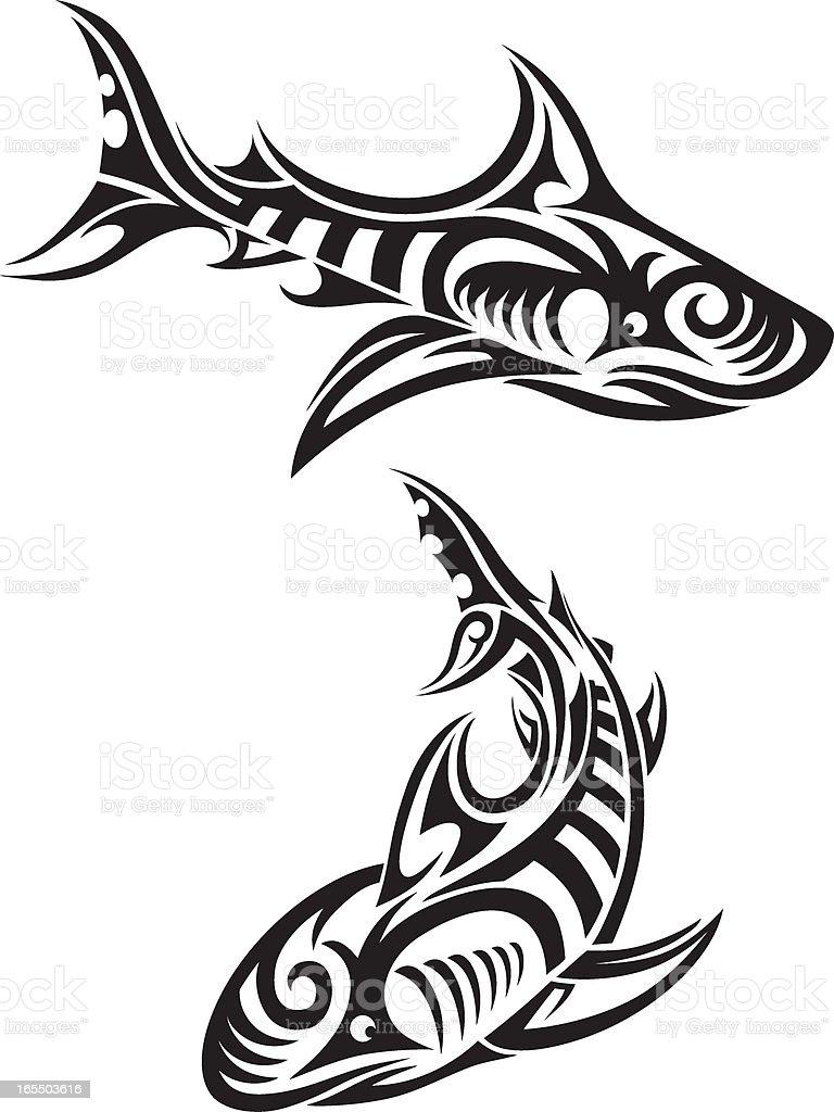 Tiburones de tribales - ilustración de arte vectorial