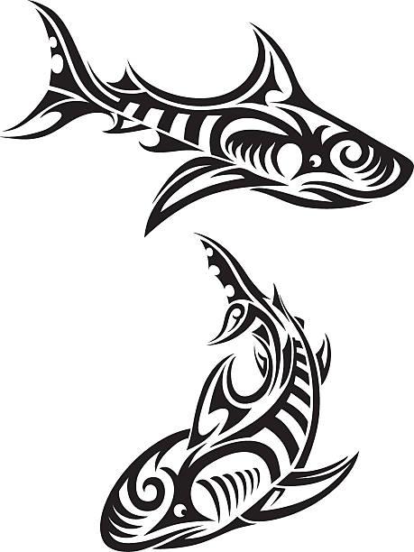 ilustraciones, imágenes clip art, dibujos animados e iconos de stock de tiburones de tribales - tatuajes tribales