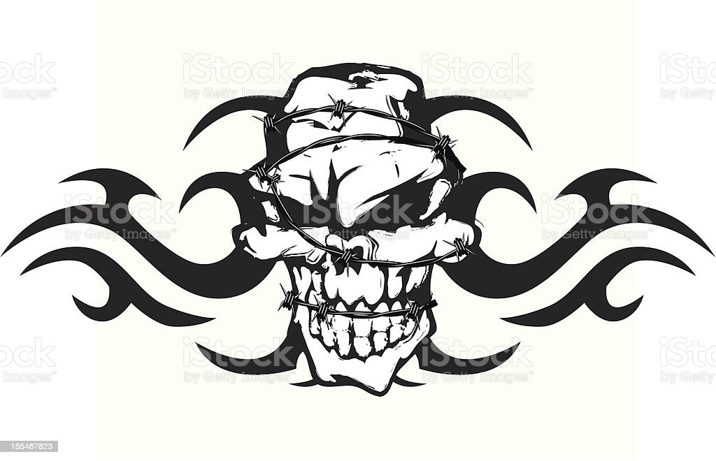 Tribal Skull With Barbed Wire Stock Illustration Download Image