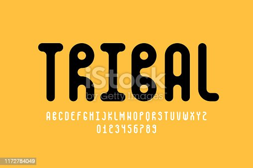 Tribal style font design, alphabet letters and numbers, vector illustration