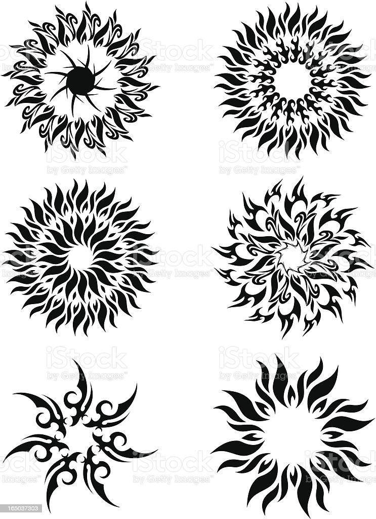 tribal suns royalty-free stock vector art