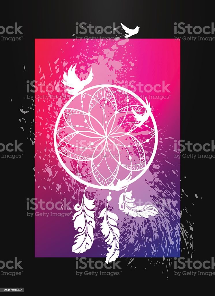 Tribal symbol of dreamcatcher with feathers and birds vector art illustration