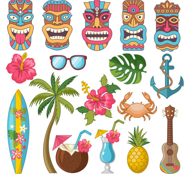 stammes-symbole der hawaiian und afrikanische kultur - glasblumen stock-grafiken, -clipart, -cartoons und -symbole