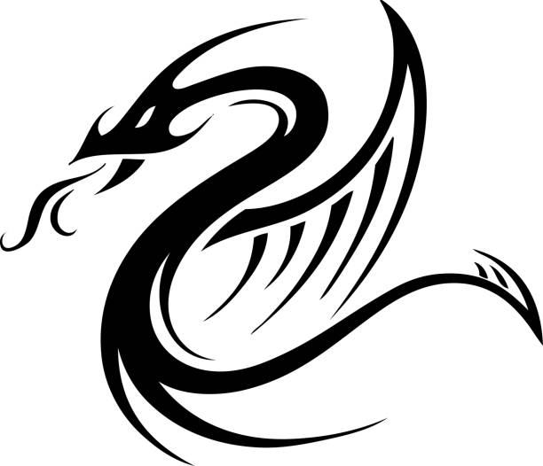 illustrations, cliparts, dessins animés et icônes de tribal tattoo designs dragon serpent - tatouages dragons