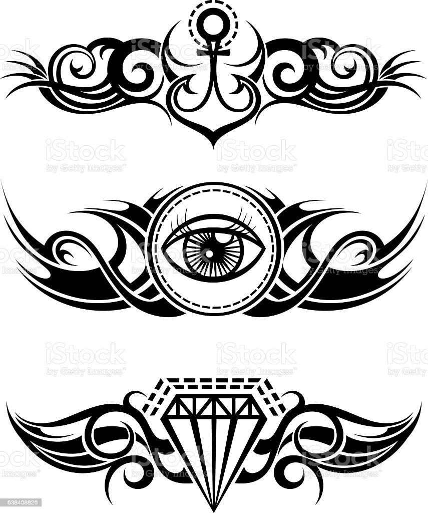 Tribal tattoo elements - ilustración de arte vectorial
