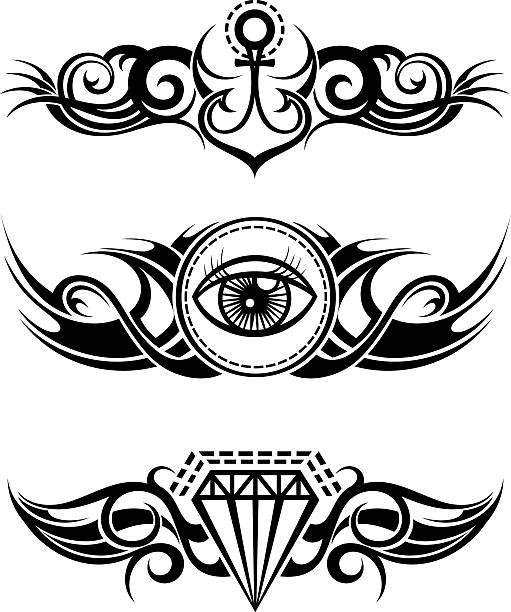illustrations, cliparts, dessins animés et icônes de tribal tattoo elements - tatouages diamants
