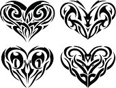 Tribal Tattoo Heart Set